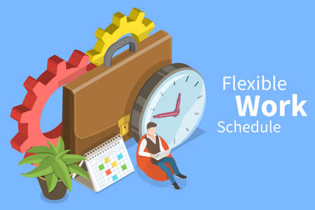 3D Isometric Flat Vector Conceptual Illustration of Flexible Work Schedule.