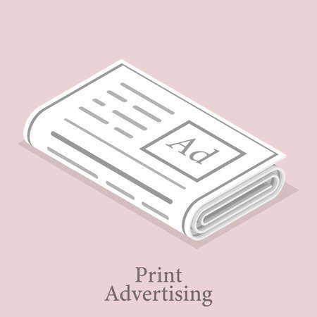 3D Isometric Vector Illustration of Print Advertising Icon.