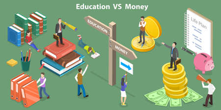 3D Isometric Flat Vector Conceptual Illustration of Education VS Money.