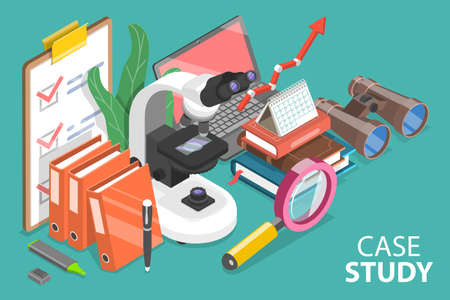 3D Isometric Flat Vector Conceptual Illustration of Case Study Research Method.