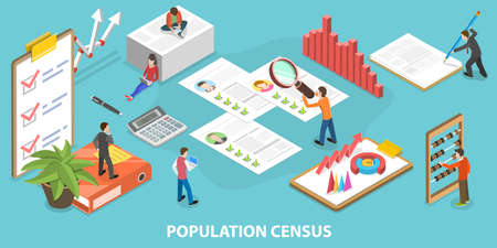 3D Isometric Vector Conceptual Illustration of Population Census.