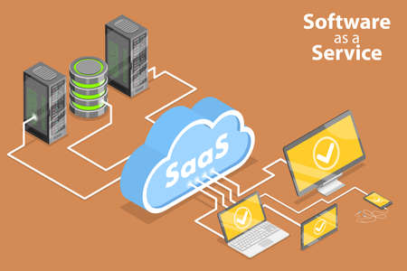 3D Isometric Flat Vector Conceptual Illustration of Saas - Software as a Service