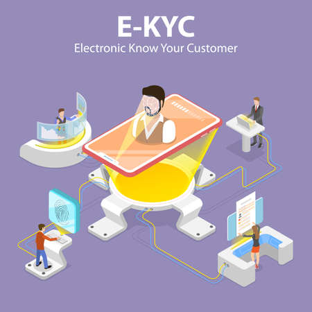 3D Isometric Flat Vector Concept of eKYC - Electronic Know Your Customer.