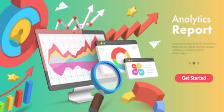 3D Isometric Flat Vector Conceptual Illustration of Analytics Business Report. Ilustração