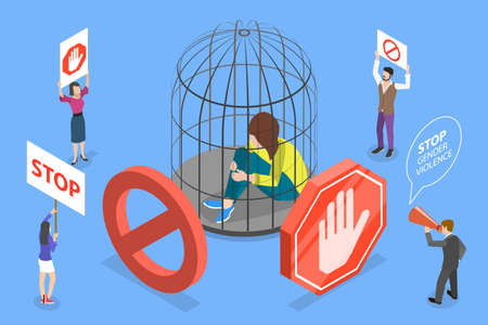 3D Isometric Flat Vector Conceptual Illustration. Stop Gender Violence Campaign.