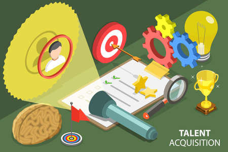 3D Isometric Flat Vector Conceptual Illustration of Talent Acquisition Process.
