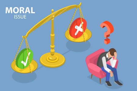3D Isometric Flat Vector Conceptual Illustration of Moral Issue, Ethical Dilemma