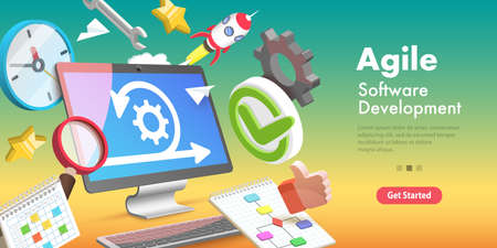 3D Vector Conceptual Illustration of Agile Software Methodology.