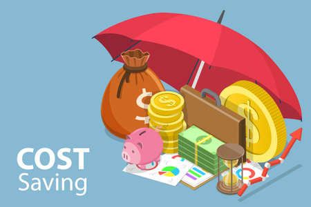 3D Isometric Flat Vector Conceptual Illustration of Cost Savings.
