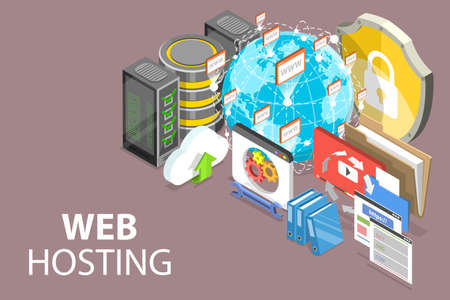 3D Isometric Vector Conceptual Illustration of Web Hosting Service.
