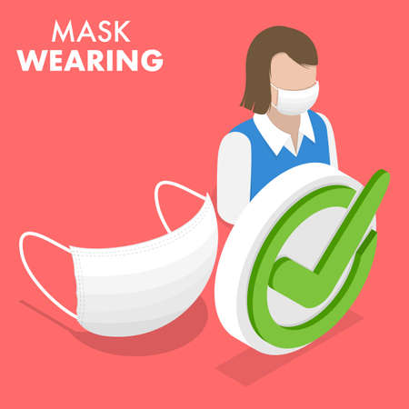 Isometric Flat Vector Conceptual Illustration of Face Mask Wearing.