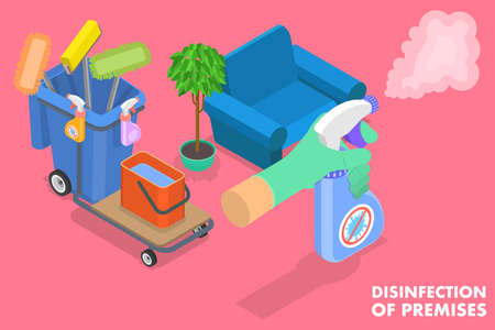 Isometric Flat Vector Conceptual Illustration of Disinfection of Premises.