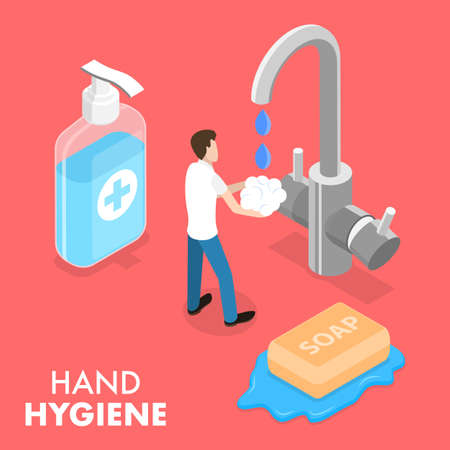 3D Isometric Flat Vector Conceptual Illustration of Hand Hygeine.