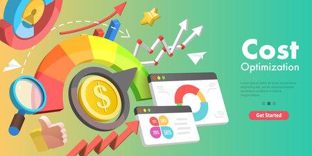 3D Vector Conceptual Illustration of Cost Reduction, Falling Rate of Profit. Ilustración de vector