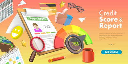 3D Vector Conceptual Illustration of Credit Score and Report