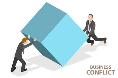 3D Isometric Flat Vector Conceptual Illustration of Conflict of Interest.