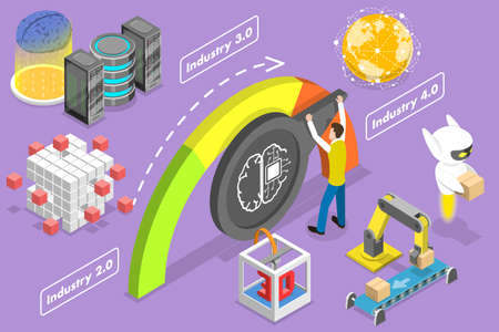 3D Isometric Flat Vector Conceptual Illustration of Transition to Industry 4.0. Ilustração