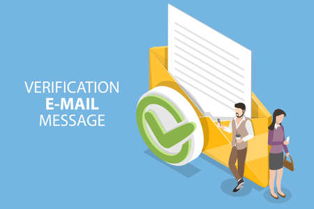 3D Isometric Flat Vector Conceptual Illustration of Verification Email Message.
