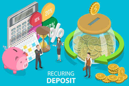 3D Isometric Flat Vector Conceptual Illustration of Recurring Deposit Account.