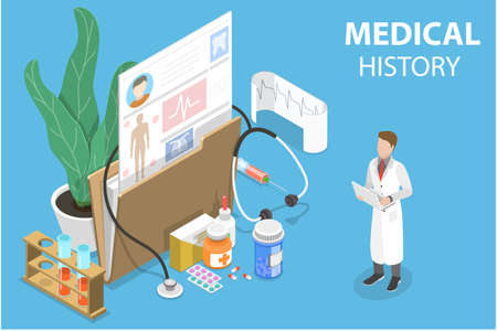 3D Isometric Flat Vector Conceptual Illustration of Mecial History.