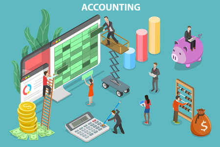 3D Isometric Flat Vector Conceptual Illustration of Financial Accounting.