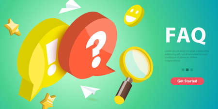 3D Vector Conceptual Illustration of FAQ - Frequently Asked Questions.