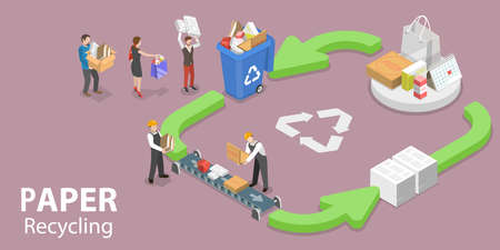 3D Isometric Flat Vector Conceptual Illustration of Paper Recycle Process.