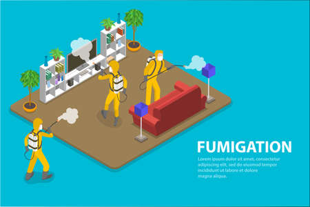 3D Isometric Flat Vector Conceptual Illustration of Disinfection and Cleaning.