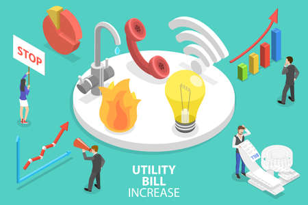 3D Isometric Vector Conceptual Illustration of Utility Bill Increase.