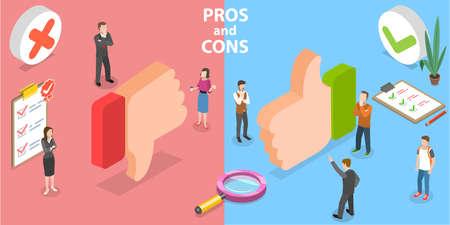 3D Isometric Flat Vector Conceptual Illustration of Pros and Cons. Vektorgrafik