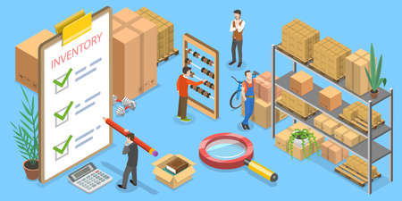 3D Isometric Vector Conceptual Illustration of Product Inventory Management. Ilustración de vector