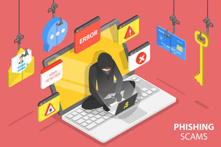 3D Isometric Flat Vector Conceptual Illustration of Internet Phishing Scams.
