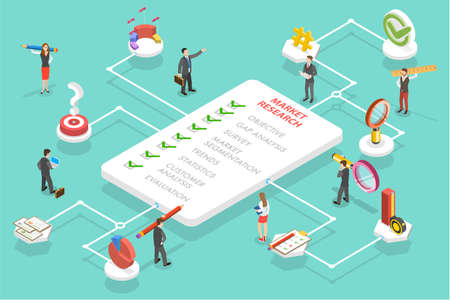 3D Isometric Flat Vector Conceptual Illustration of Market Research Strategy, Financial Investment and Profit Improving