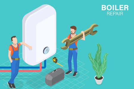 3D Isometric Flat Vector Conceptual Illustration of Boiler Repair, Heating System Installation