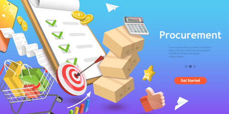 3D Isometric Flat Vector Conceptual Illustration of Procurement, Process of Finding and Agreeing to Terms, Purchasing Goods or Services Vektoros illusztráció