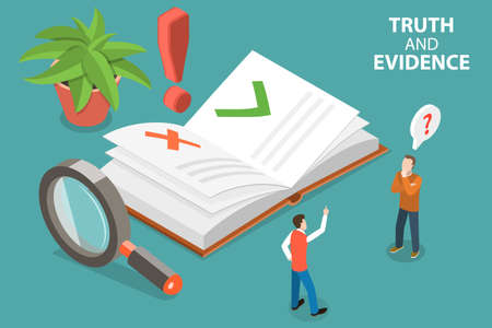 3D Isometric Flat Vector Conceptual Illustration of Truth and Evidence, Fake News Recognition Vector Illustration