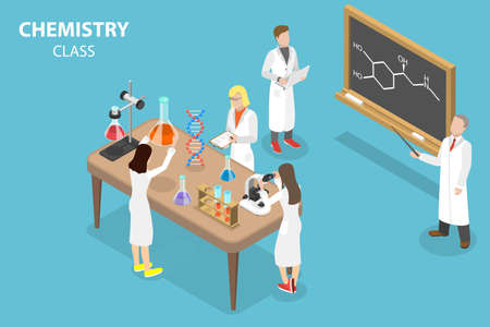 3D Isometric Flat Vector Conceptual Illustration of Chemistry Class, Science Laboratory for Education Vektorové ilustrace