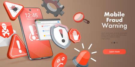 3D Vector Conceptual Illustration of Mobile Fraud Warning, Online Scam Alert