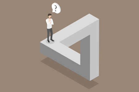 3D Isometric Flat Vector Conceptual Illustration of Penrose Triangle, Impossible Business Challenge