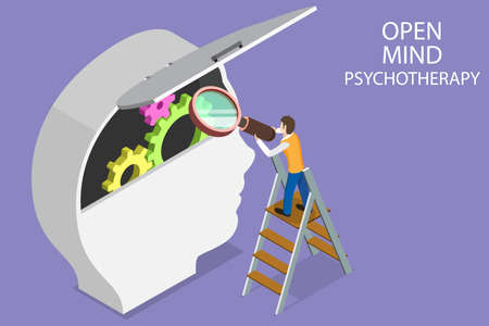 3D Isometric Flat Vector Conceptual Illustration of Open Mind Psychotherapy, Mental Health Treatment