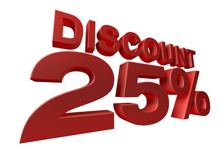 3D render of a 25 percent discount sign isolated on a white background photo