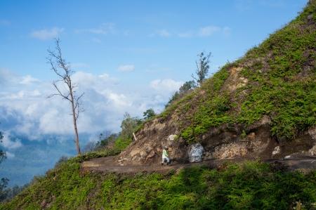 sulfur: Sulfur mining in Kawah Ijen, Indonesia