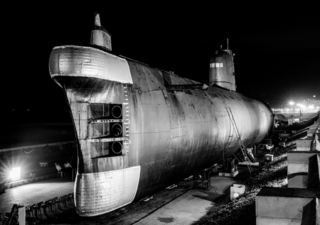 INS kursura is a decommissioned Indian submarine put on display at Visakhapatnam,India Banco de Imagens