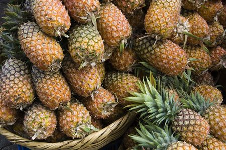 Ripe pineapples in the market