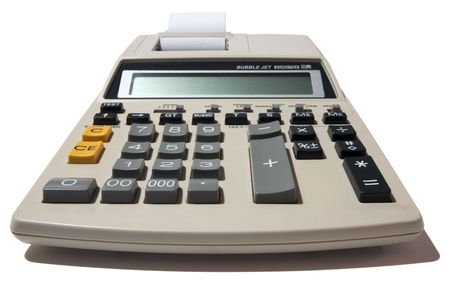 sums: Close up of an accounting calculator isolated on a white background