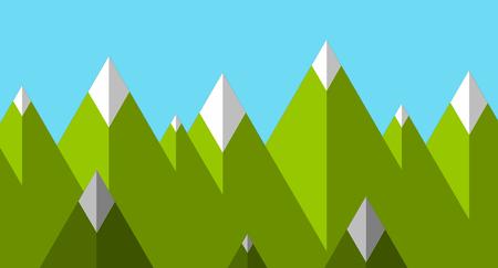 Flat design modern vector illustration, green flat mountains with snow 矢量图像