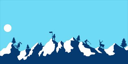 Sport in high blue mountains. Flat design modern vector illustration