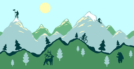 Flat design modern vector illustration, green spring mountains with animals