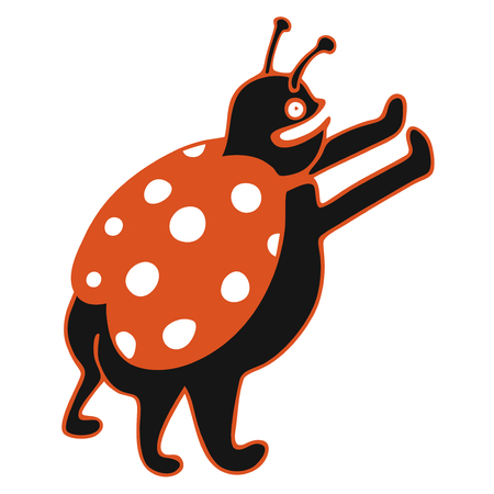 modern vector illustration with black cute ladybug