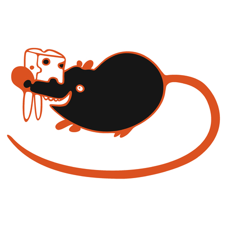 modern vector illustration with black cute mouse